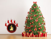 Christmas fir tree and fireplace 3d render — Stok fotoğraf