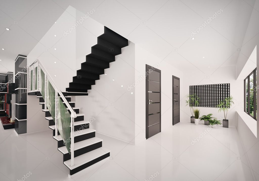 Interieur van moderne entreehal met trappenhuis 3d render stockfoto scovad 4448423 - Moderne entreehal ...