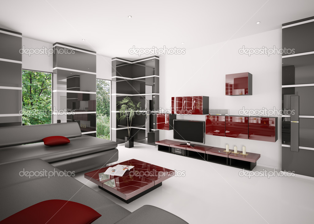 Modern living room with black sofa red table and LCD interior 3d render — Stock Photo #4454213