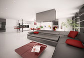 Interior do apartamento moderno 3d render — Foto Stock