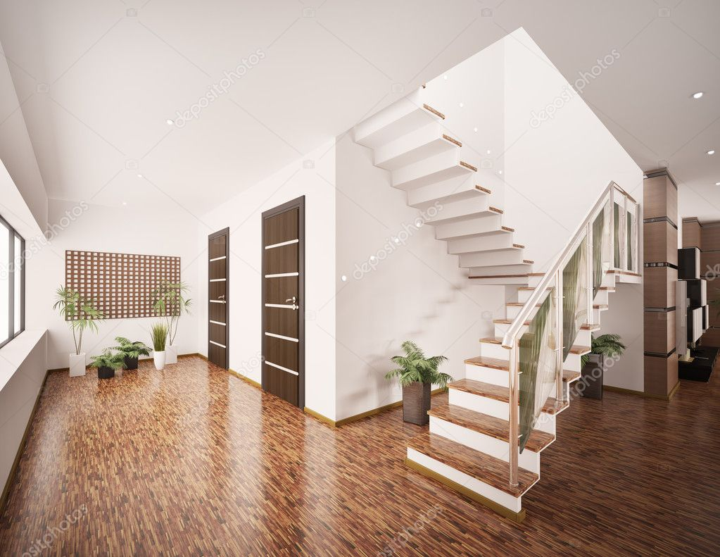 interior of modern entrance hall 3d render stock photo. Black Bedroom Furniture Sets. Home Design Ideas