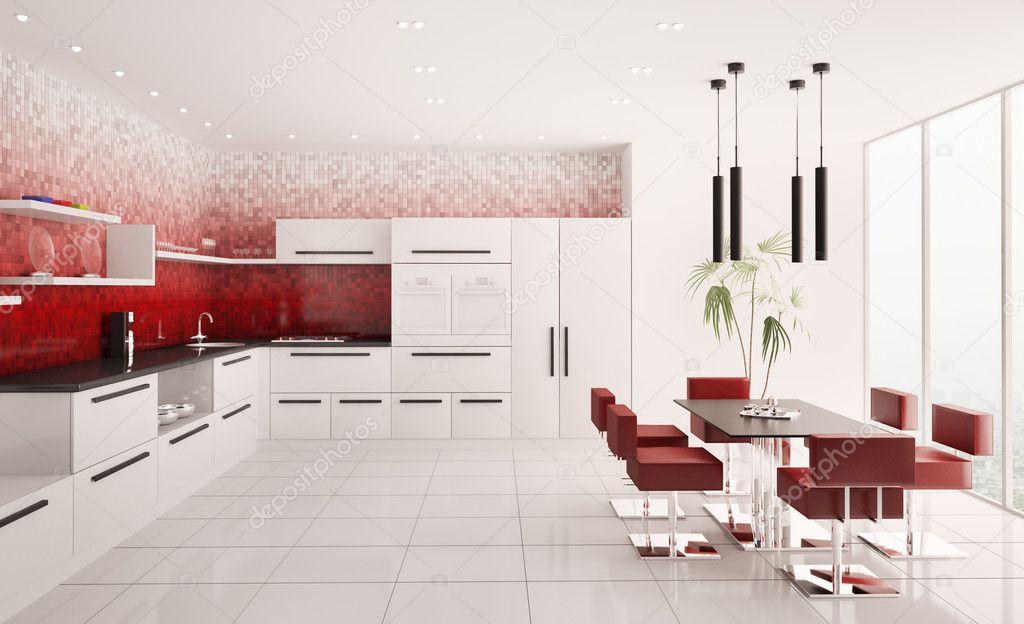 Interieur van moderne keuken 3d render — stockfoto © scovad #4484268