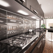 Interior of modern black kitchen 3d render — Stock Photo