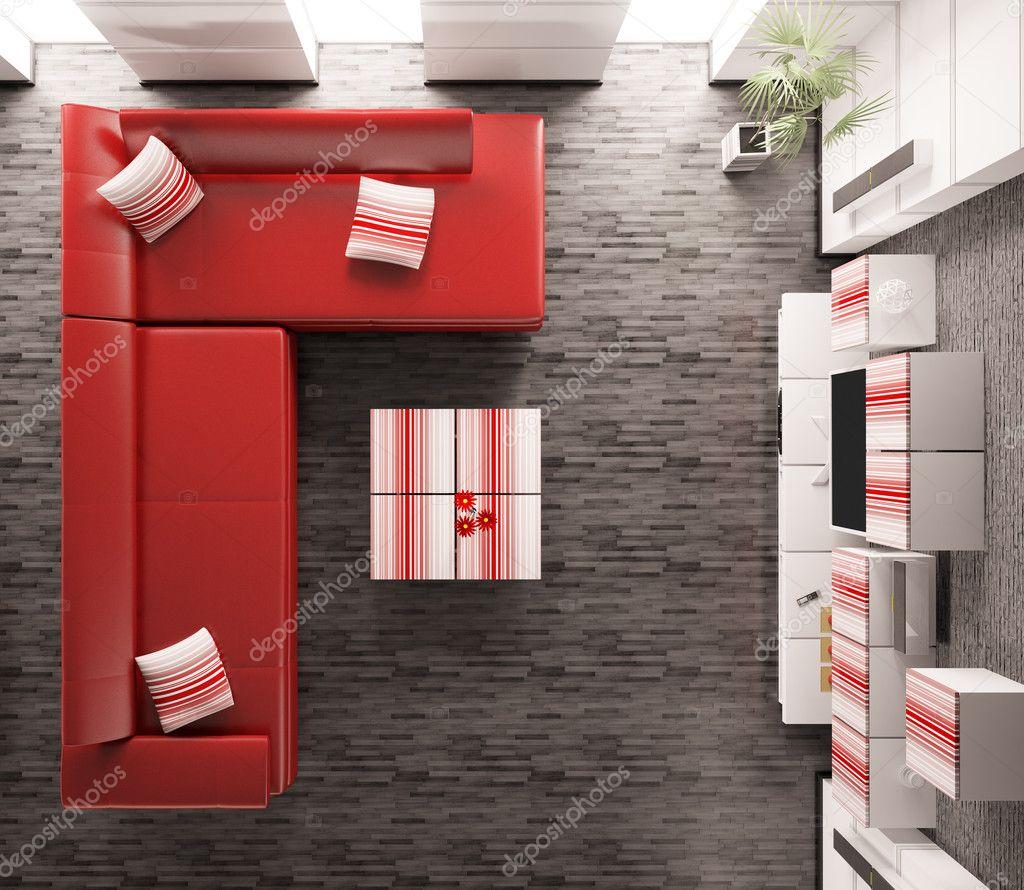 Salotto interno vista dall 39 alto 3d rendering foto stock for Immagini salotto moderno