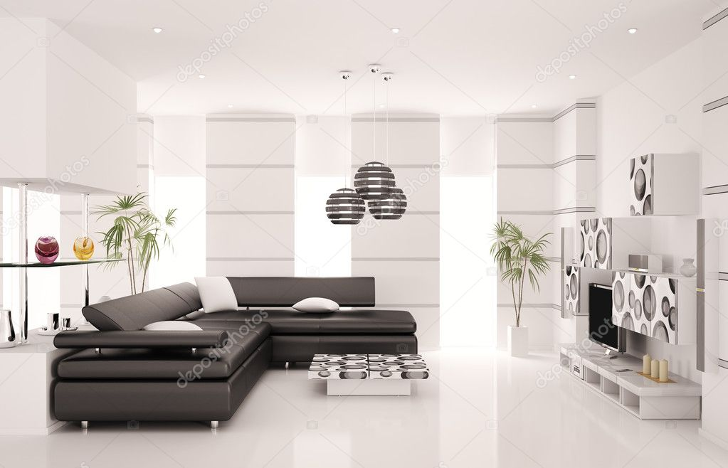 Moderne woonkamer met zwarte sofa en lcd interieur 3d render stockfoto scovad 4604031 - Interieur decoratie modern appartement ...