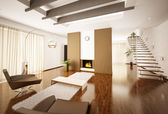 Modern apartment interior 3d render — Stock Photo
