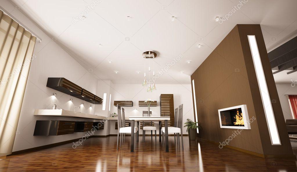 Caminetto cucina moderna : Interno di cucina moderna render d u foto stock � scovad