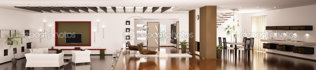 Interior of modern apartment living room kitchen hall panorama 3d render — Stock Photo #5021194
