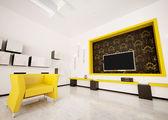 Nowoczesne wnętrza salonu render 3d — Zdjęcie stockowe
