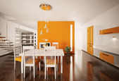 Interior of modern kitchen 3d render — Stock Photo