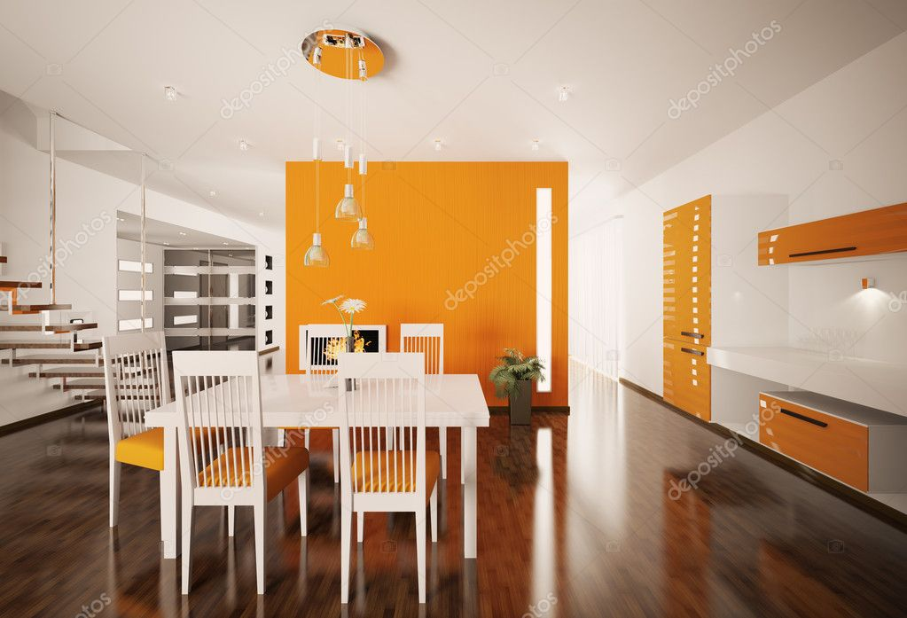 Interior of modern orange white kitchen 3d render  Stock Photo #5053826