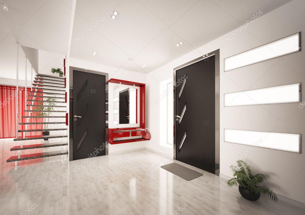 Interni moderni del corridoio con scala 3d rendering for Interni moderni foto