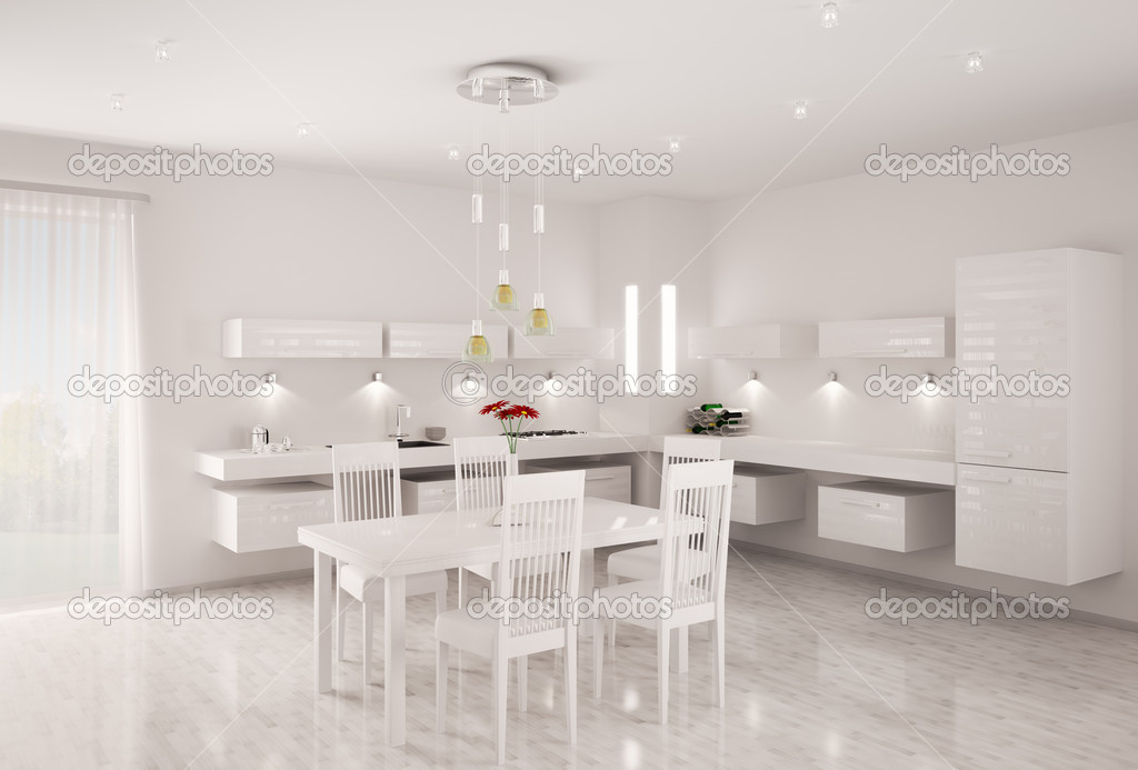 Witte keuken interieur 3d renderen — stockfoto © scovad #5101849