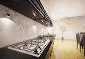 Kitchen interior with gas stove 3d render — Stock Photo