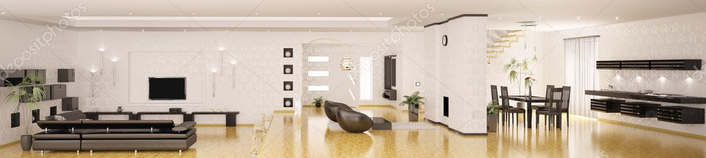 Interior of modern apartment panorama 3d render stock - Photo interieur appartement moderne ...