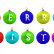 Set of colored christmas balls with Merry Christmas — Stock Photo