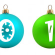 Colored Christmas balls with 2011 date written — Stock Photo