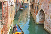 Colorful bridge across canal in Venice, — Stock Photo