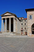 Town Hall and Temple of Augustus in Pula — Stock Photo