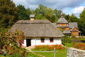 Wooden houses in colored trees taken in park in autumn in Pirogovo — Stock Photo