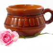 Stock Photo: Tea and roses
