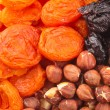 Dried fruits and hazelnuts — Stock Photo