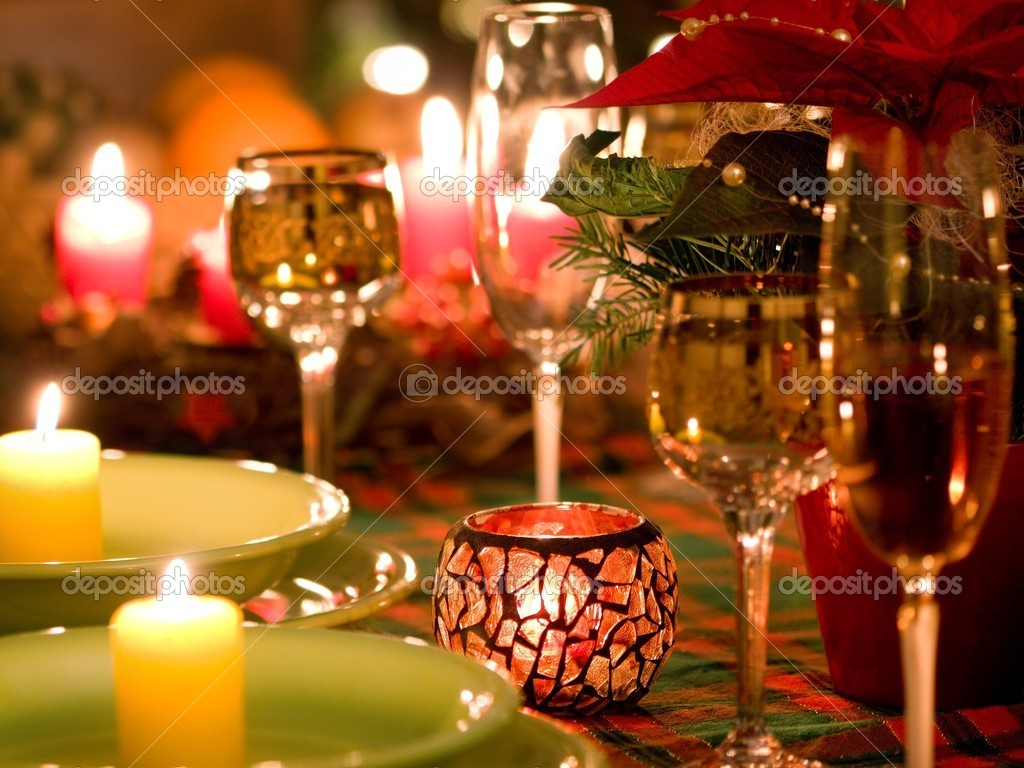 Beautiful place setting for Christmas — Stok fotoğraf #4232979