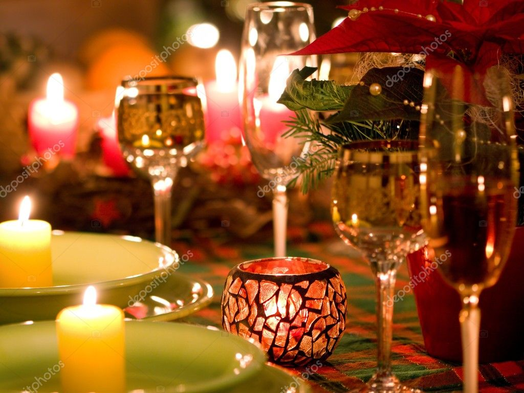 Beautiful place setting for Christmas — Stockfoto #4232979