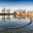 Autumn landscape with pond — Stock Photo
