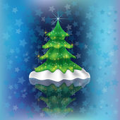 Christmas tree on blue stars background — Vecteur