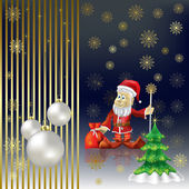 Christmas tree and Santa Claus on a gold background — Stock Vector