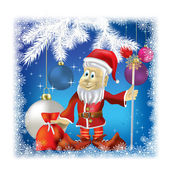 Santa Claus with gifts on blue background — ストックベクタ