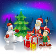 Christmas greeting Santa Claus with gifts - Stock vektor