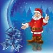 Christmas greeting with Santa Claus in blue forest - Stock vektor