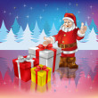 Royalty-Free Stock Vector Image: Santa Claus with christmas gifts on a woods background