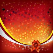Felicitación de navidad con lazo rojo — Vector de stock