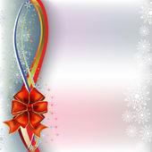 Vánoční pozdrav červenou stuhu s barevnými stuhami — Stock vektor