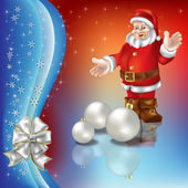 Приветствие Рождество с Санта-Клауса и белые шарики — Cтоковый вектор
