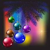 Christmas tree and balls on a colored background — Stock Vector