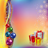 Christmas greeting with gifts and colored balls — Vettoriale Stock