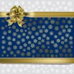 ruban de cadeau de Noel or sur fond de flocons de neige — Vecteur