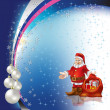 Christmas greeting Santa Claus with pearl balls on stars backgro - Stock Vector