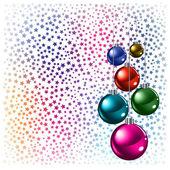 Noel arka plan üzerinde beyaz bir yıldız ile topları renkli — Stok Vektör