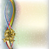 Christmas greeting gold bow with colored ribbons — Stock Vector