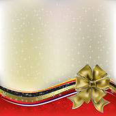 Christmas greeting gold bow with ribbons on red — Stock Vector