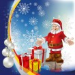 Royalty-Free Stock Vector Image: Christmas greeting Santa Claus with gifts and balls