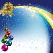 Christmas greeting gold bow with colored balls - Vettoriali Stock
