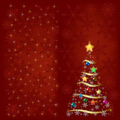 Christmas tree with decoration and snowflakes — Vector de stock