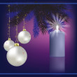 Christmas greeting with decoration and burning candle - Imagen vectorial