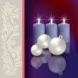 Christmas greeting with decoration and candles - Imagen vectorial